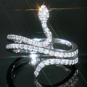 925 Silver Snake Ring with White Sapphires